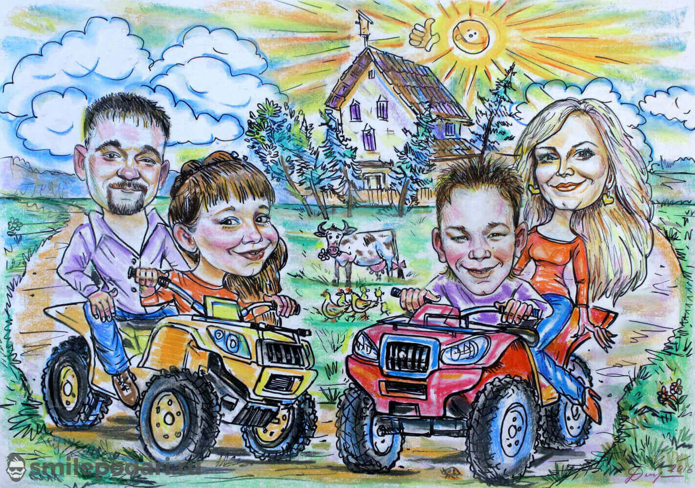 "Шарж по фото групповой ""Семья на квадроциклах"""