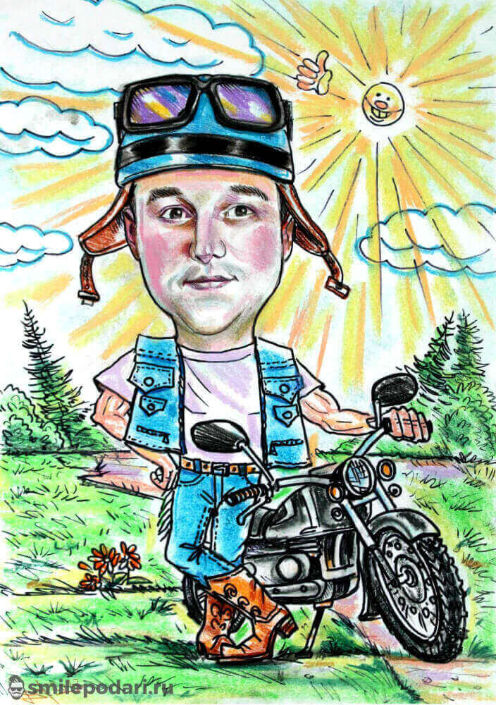 Шарж Мотоциклист