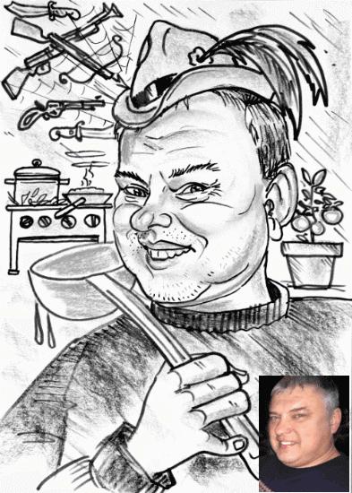 """Шарж черно-белый портретный """"Охотник-домохозяин"""""""